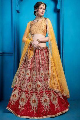 Heavy Design Art Silk Lehenga Maroon Color With Glitter Work