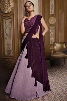 Heavy Design Purple Designer And Fancy Lehengas Fancy Fabric