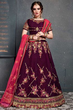 Heavy Design Taffeta Satin Bridal Lehenga Choli Purple Color