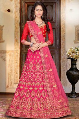 Heavy Designer Choli Red With Pink Lehenga In Zari Work
