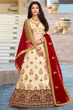 Heavy Designer Cream Lehenga Choli For Women