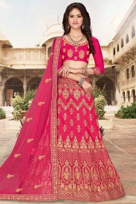Heavy Designer Dark Pink Lehenga Choli With Embroidered Blouse