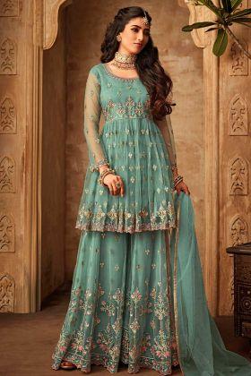 Heavy Designer Net Sharara Suit