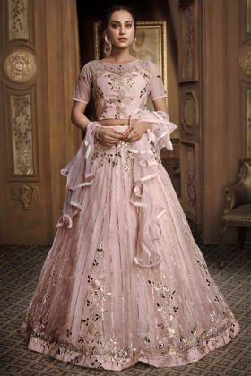Heavy Designer Party Wear Lehenga Baby Net Pink Color