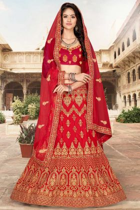 Heavy Designer Red Lehenga Choli With Embroidered Blouse