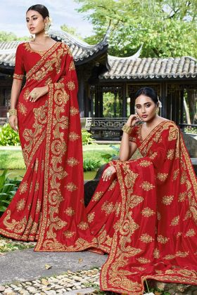 Heavy Designer Saree Art Silk Fabric Red Color