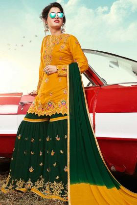 Heavy Designer Sharara Suit Satin Musturd Yellow Color