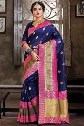 Heavy Designer Silk Based Saree In Navy Blue Color