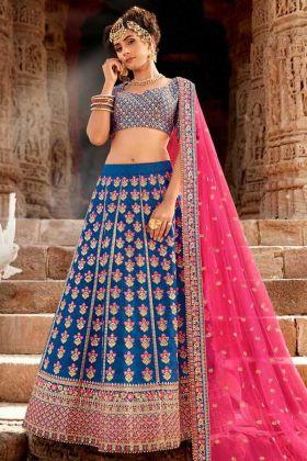 Heavy Designer Silk Wedding Lehenga Choli Blue Color