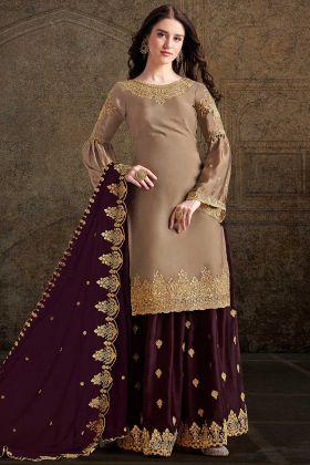Heavy Designer Suit Beige Color In Zari Embroidered Work