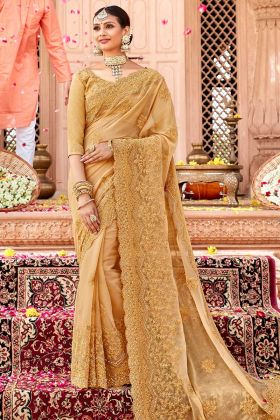 Heavy Designer Tone To Tone Embroidered Saree In Beige Color