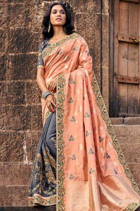 Heavy Embroidered Border Peach And Grey Designer Banarasi Saree