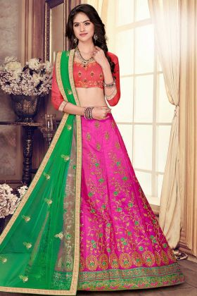 Heavy Embroidered Designer Lehenga Choli Rani Pink Color