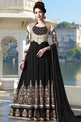 Heavy Embroidered Georgette Anarkali Dress Black Color