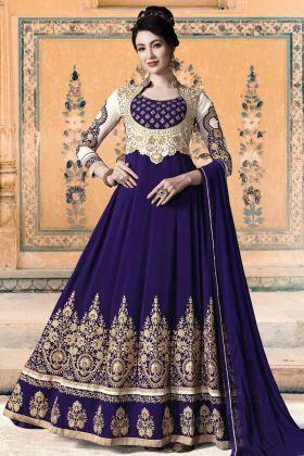Heavy Embroidered Georgette Anarkali Salwar Kameez Royal Blue
