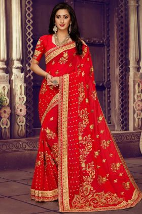 Heavy Embroidered Georgette Red Saree