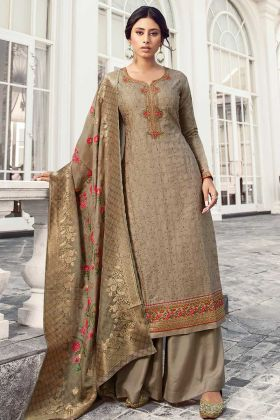 Heavy Embroidered Satin Silk Grey Salwar Kameez
