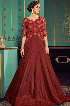 Heavy Embroidered Silk Gown Style Wedding Anarkali Suit Set Maroon Color