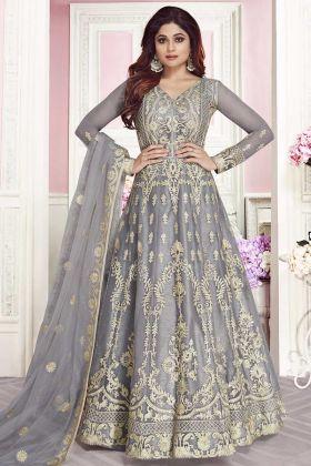 Heavy Embroidered Soft Net Anarkali Salwar Suit Grey Color