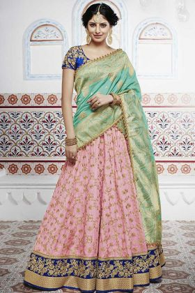 Heavy Embroidered Tussar Silk Pink Party Wear Lehenga