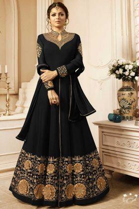 Heavy Embroidered Work Anarkali Georgette Suit Black Color