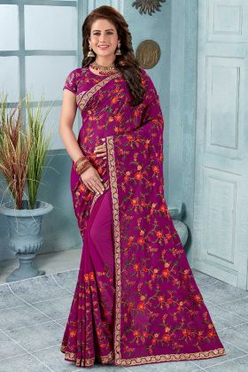 Heavy Embroidery Georgette Designer Saree Magenta Pink Color