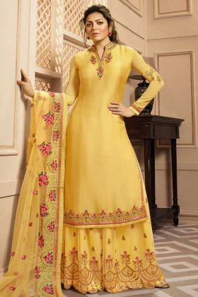 Heavy Embroidery Georgette Satin Designer Salwar Suit Yellow Color