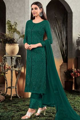 Heavy Embroidery Green Heavy Faux Georgette Designer Suit