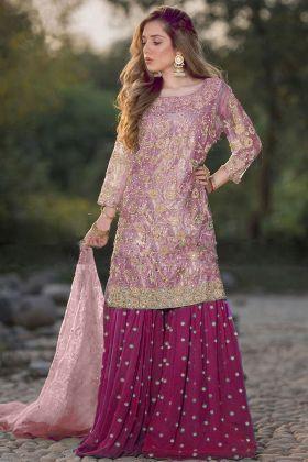 Heavy Embroidery Light Pink Sharara Salwar Kameez