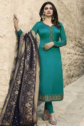 Heavy Embroidery Rama Color Georgette Satin Salwar Kameez