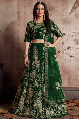 Heavy Embroidery Velvet Silk Green PartyWear Lehenga
