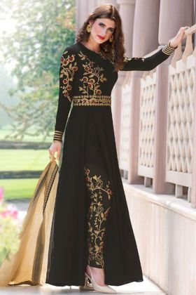 Heavy Embroidery Work Black Color Faux Georgette Pant Style Salwar Kameez