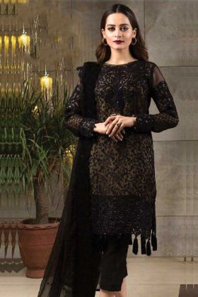 Heavy Embroidery Work Black Color Pure Georgette Pakistani Salwar Kameez