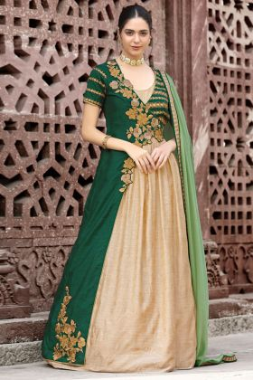 Heavy Embroidery Work Cream Color Jacket Style Silk Anarkali Dress