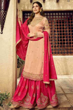 Heavy Embroidery Work Cream Color Satin Georgette Sharara Salwar Kameez