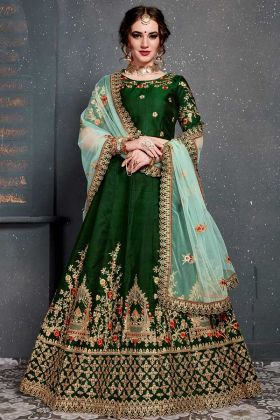 Heavy Embroidery Work Dark Green Taffeta Satin Lehenga