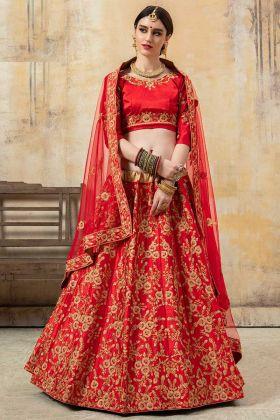 Heavy Embroidery Work Malai Satin Red Lehenga Choli