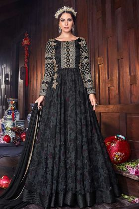 Heavy Embroidery Work Organza Party Wear Gown Style Floor Length Anarkali Black Color
