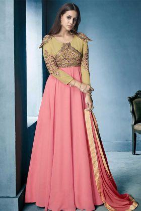 Heavy Embroidery Work Peach Color Lichi Georgette Gown Style Anarkali Salwar Kameez