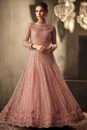Heavy Embroidery Work Peach Color Net Anarkali Salwar Kameez