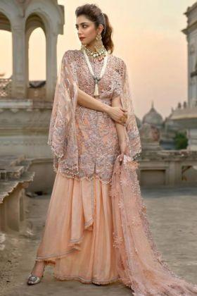 Heavy Embroidery Work Peach Color Net Organza Party Wear Pakistani Salwar Kameez