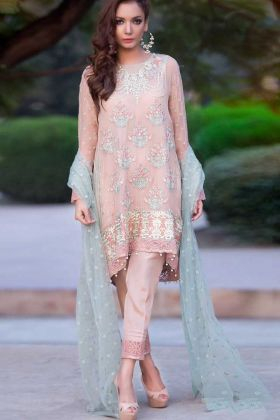 Heavy Embroidery Work Peach Color Pure Georgette Pakistani Dress