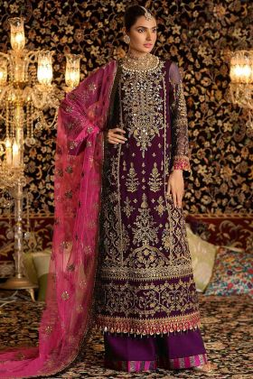 Heavy Embroidery Work Purple Color Faux Georgette Palazzo Dress