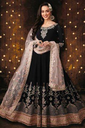 Heavy Faux Georgette Black Color Anarkali Salwar Kameez