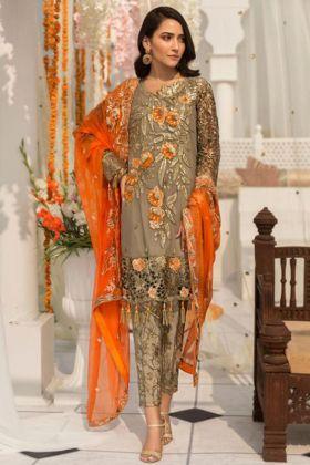 Heavy Faux Georgette Pakistani Dress Embroidery Work In Mehendi Color