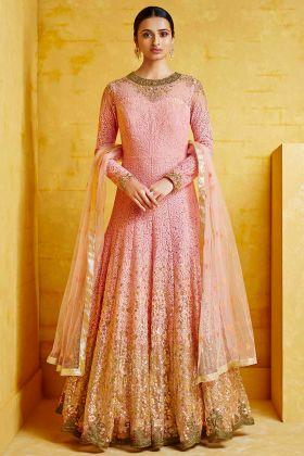 Heavy Georgette Anarkali Dress Heavy Embroidery Work In Pink Color