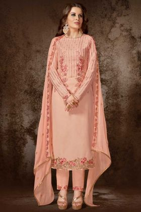 Heavy Georgette Pant Style Salwar Kameez In Light Peach Color