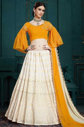 Heavy Georgette Party Wear Lehenga Off White Color