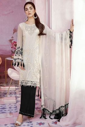 Heavy Georgette Salwar Suit White Color With Black Palazzo