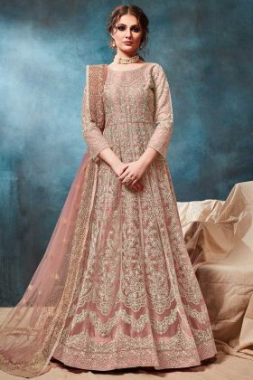 Heavy Gown Style Anarkali Dress In Dusty Peach Color